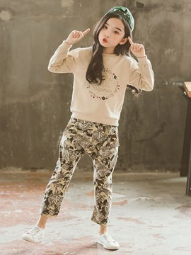 Ericdress Letter Floral Camouflage Sweatshirts & Pants Girl's Casual Outfits