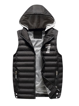 Ericdress Plain Removable Hooded Warm Mens Quilted Winter Vest