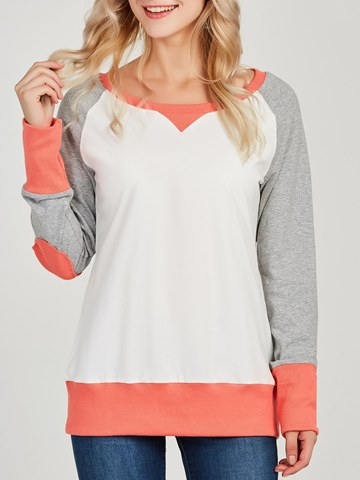 Ericdress Casual Color Block Patchwork Long Sleeve T-shirt
