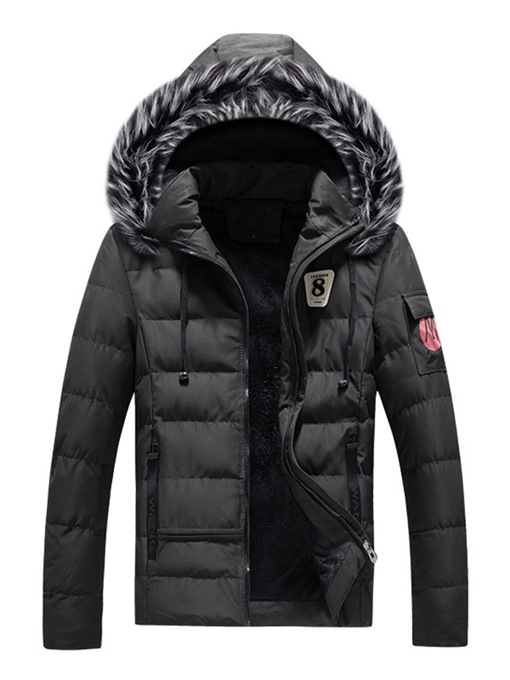 Ericdress Plain Fur Hooded Zipper Mens Casual Winter Coats