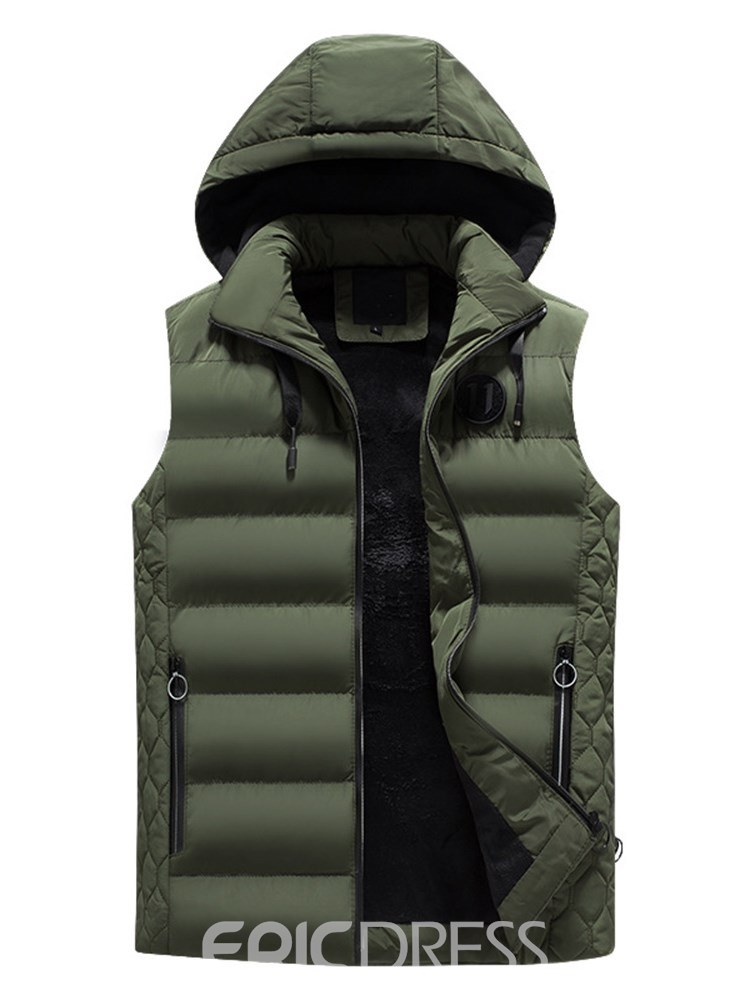 Ericdress Plain Removable Hooded Zipper Mens Quilted Winter Vest