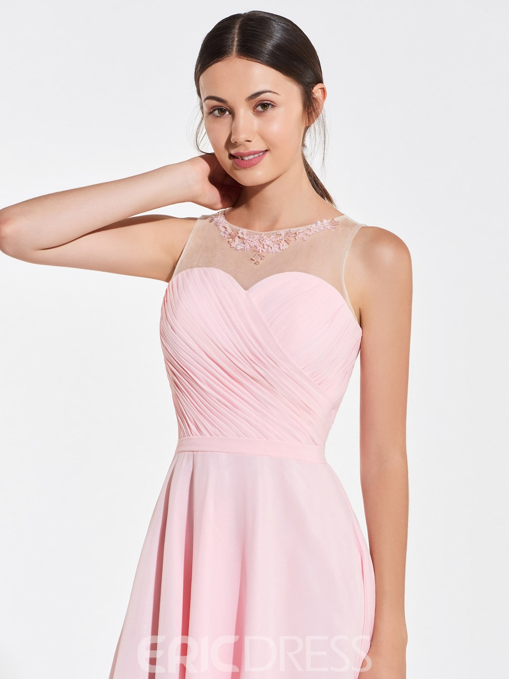 Ericdress Beading Straps Short Pink Bridesmaid Dress