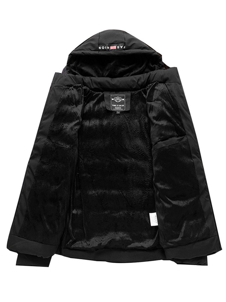 Ericdress Plain Hooded Lace Up Mens Winter Quilted Coats