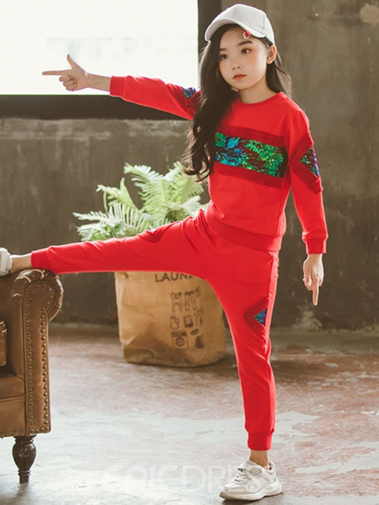 Ericdress Coloe Block Patchwork Sequins Girl's Casual Sports Outfits