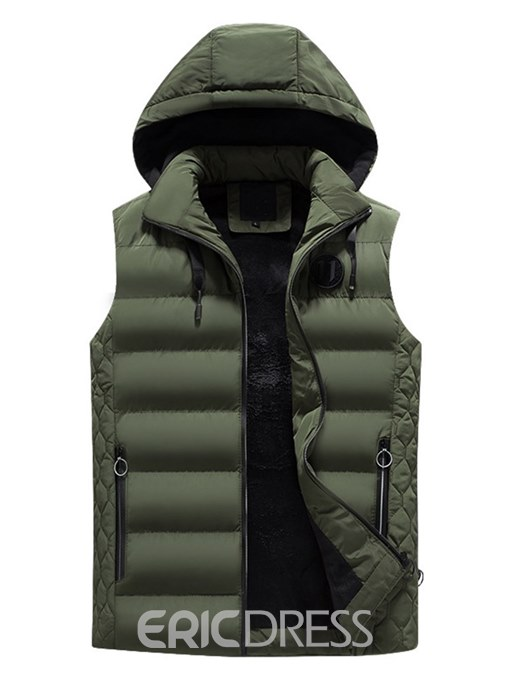 Ericdress Plain Removable Hooded Zipper Mens Quilted Vest