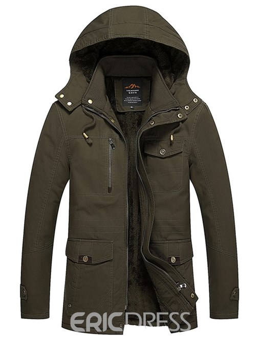 Ericdress Plain Zipper Thick Mid-Length Mens Winter Jacket