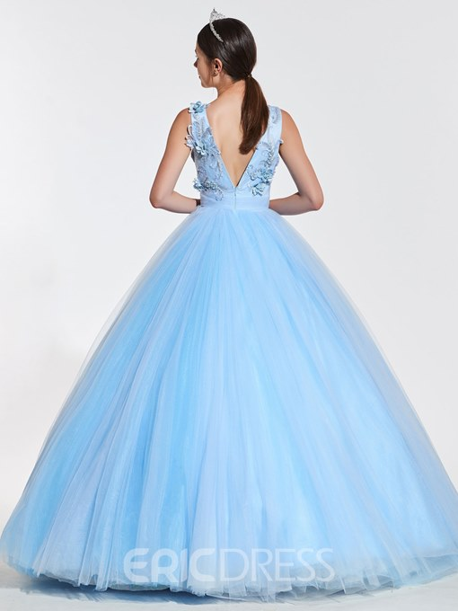 Ericdress V Neck 3D Floral Beaded Ball Quinceanera Gown