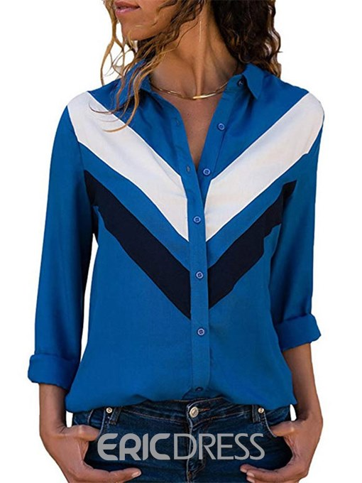 Ericdress Color Block Lapel Casual Long Sleeve Blouse