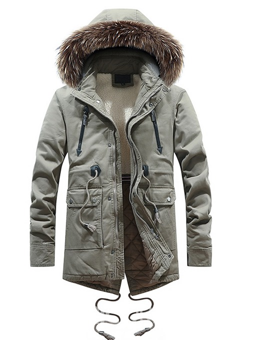 Ericdress Plain Zipper Pocket Hooded Thick Mens Winter Coats