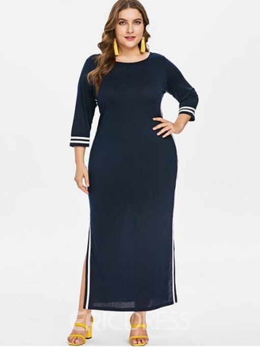 Ericdress Plus Size Round Neck Three-Quarter Sleeve Ankle-Length Pencil England Dress