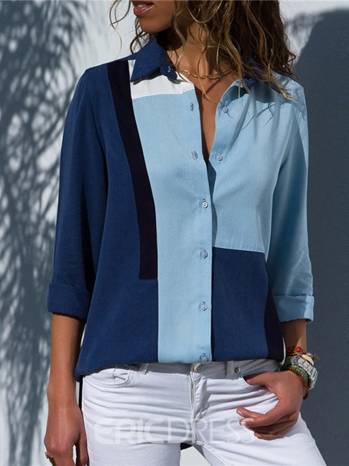 Ericdress Color Block Loose Single-Breasted Lapel Long Sleeve Blouse