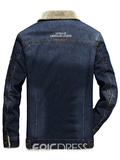Ericdress Plain Slim Single Breasted Mens Casual Winter Denim Jacket