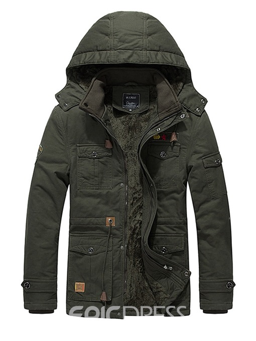 Ericdress Plain Pocke Removable Hooded Mens Thick Casual Coats Jacket
