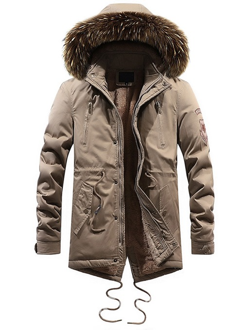 Ericdress Plain Lace Up Zipper Hooded Mens Casual Thick Winter Coat