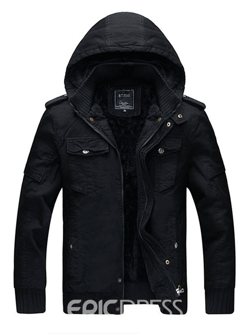Ericdress Plain Removable Hooded Zipper Mens Winter Casual Jacket Coats