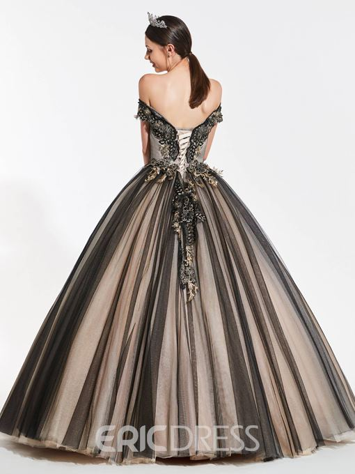 Ericdress Vintage Off The Shoulder Applique Ball Quinceanera Dress