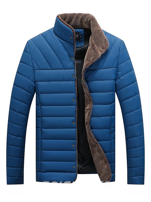 Ericdress Stand Collar Plain Pocket Mens Winter Quilted Jacket