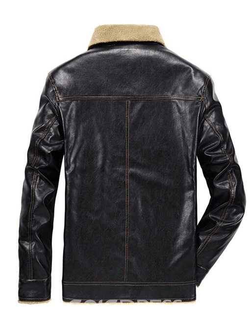 Ericdress Plain Slim Button Mens Casual PU Leather Jacket