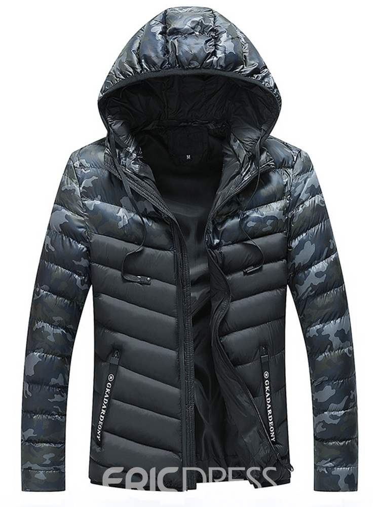 Ericdress Camouflage Patchwork Hooded Mens Casual Zipper Quilted Coats