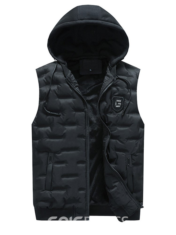 Ericdress Plain Zipper Hooded Pocket Mens Winter Warm Vest