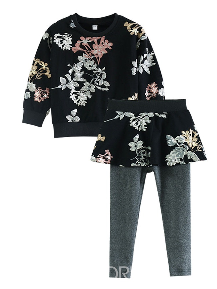 Ericdress Floral Printed T Shirts & Pants Girl's Casual Outfits