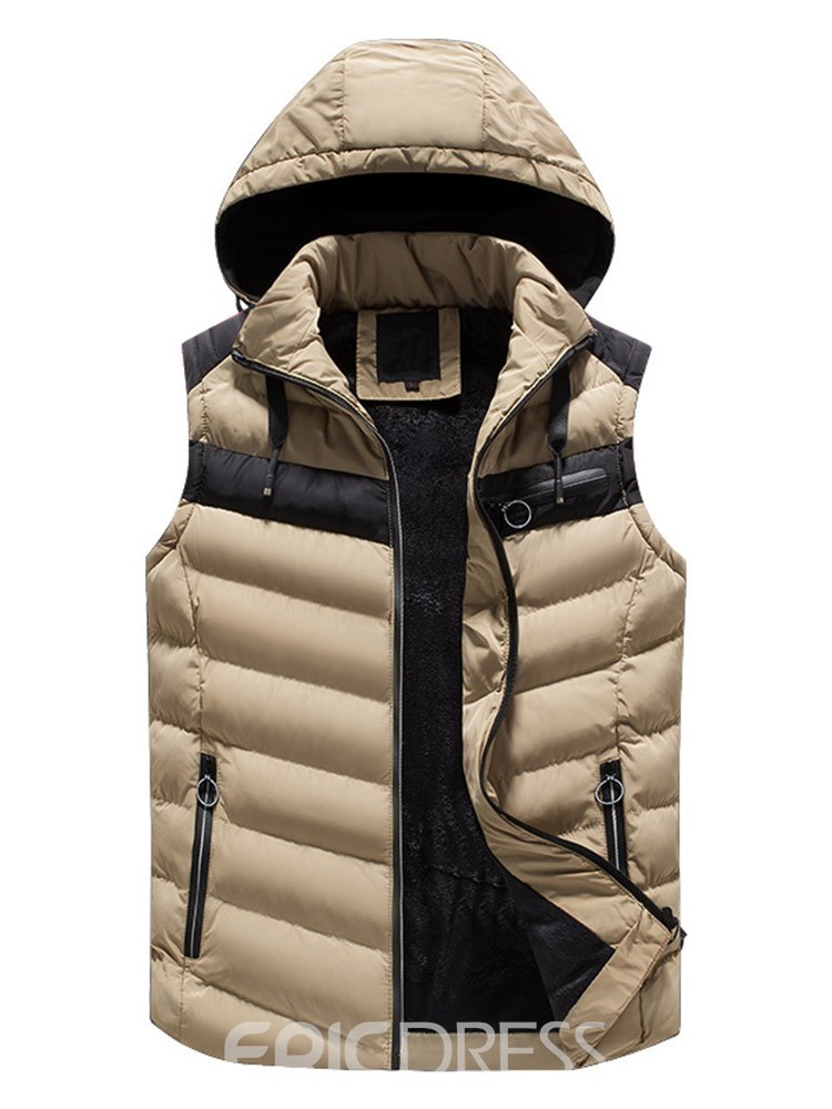 Ericdress Patchwork Zipper Removable Hooded Mens Casual Vest