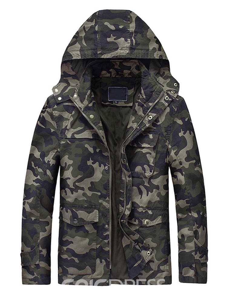 Ericdress Camouflage Printed Hooded Zipper Mens Casual Thick Jacket
