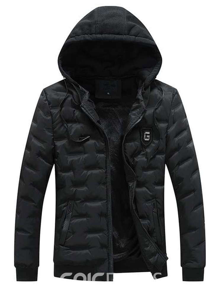 Ericdress Plain Hooded Zipper Pocket Mens Casual Quilted Coats