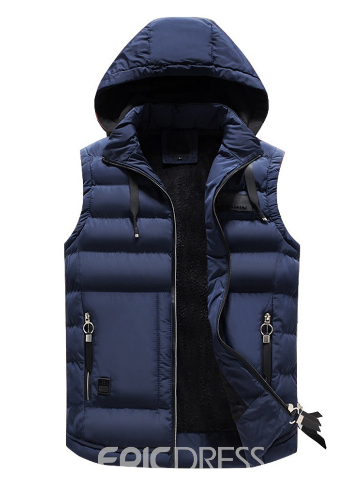Ericdress Removable Hooded Plain Pocket Zipper Mens Quilted Vest