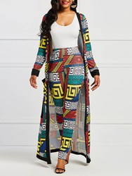 Ericdress Print Geometric Pocket Trench Coat and Pants Womens Two Piece Set
