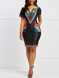 Ericdress Bodycon Geometric African Ethnic Style Womens Dress