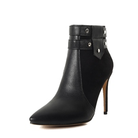 Ericdress Patchwork Pointed Toe Stiletto Heel Women's Ankle Boots