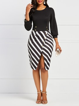 Ericdress Office Lady Stripe Split Women's Dress