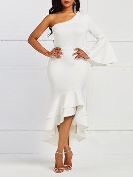 Ericdrdess Flare Sleeve One-Shoulder White Women's Dress