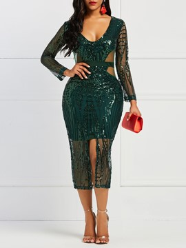 Ericdress Long Sleeves Sexy Sequins Women's Dress