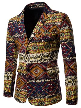 Ericdress Geometric Ethnic Print Slim Patchwok Mens Casual Blazer Coats