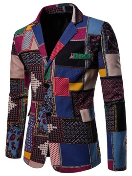 ericdress bloque de color patchwork delgado mens casual blazer abrigos