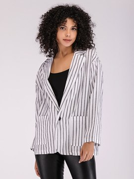 Ericdress Notched Lapel Button Pocket Stripe Blazer