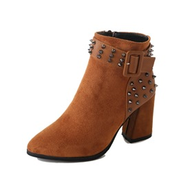 Ericdress Rivet Side Zipper Chunky Heel Women's Ankle Boots