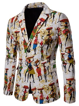 ericdress ethinic cartoon printed mens slim casual blazer abrigos
