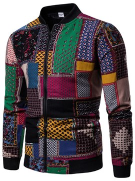 Ericdress Patchwork Color Block Slim Mens Casual Zipper Jacket