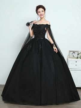 Ericdress Bateau Appliques Cap Sleeves Black Quinceanera Dress
