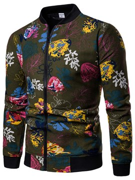 Ericdress Floral Print Zipper Stand Collar Mens Casual Jacket