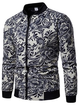 Ericdress White & Blue Printed Slim Mens Casual Jacket