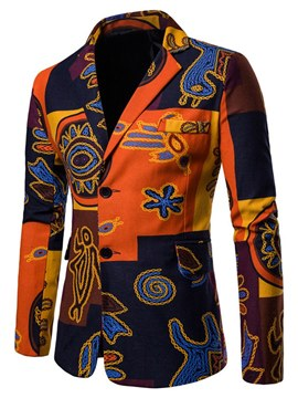 Ericdress Patchwork Slim Geometric Print Mens Casual Blazer Coats