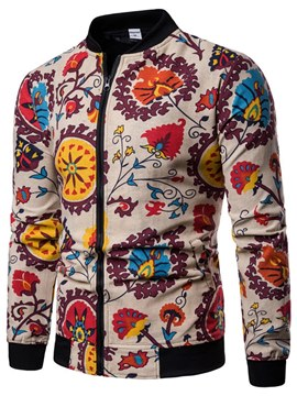 Ericdress Floral Zipper Slim Stand Clollar Mens Casual Jacket