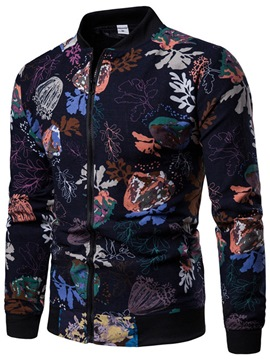 Ericdress Stand Collar Floral Print Zipper Mens Casual Jacket