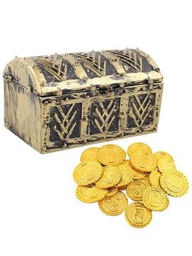 Ericdress Plastic Halloween Props Treasure Chest Gold Coin