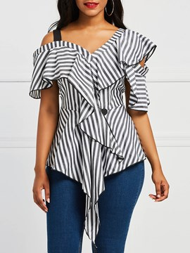 Ericdress Stripe Color Block Ruffles Hollow Short Sleeve Blouse