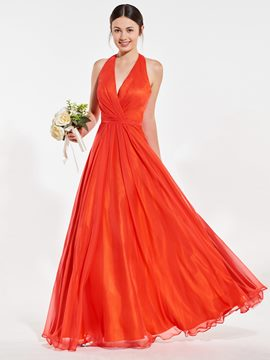 Ericdress Halter Backless Long Bridesmaid Dress